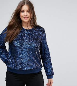 Club L Plus Blue Textured Long Sleeve Sweatshirt