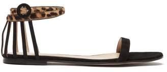 Gianvito Rossi Leopard Strap Suede Sandals - Womens - Black Multi
