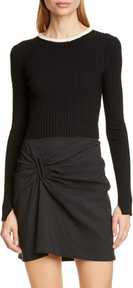 A.L.C. Hughes Crochet Neck Ribbed Sweater