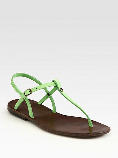 Ishvara Nubuck Leather Slingback T-Strap Sandals