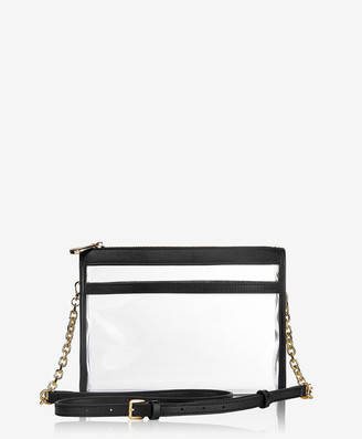 GiGi New York Leigh Anne Crossbody, Clear Bag with Black Vachetta Trim