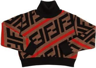 Fendi Logo Intarsia Cropped Wool Knit Sweater