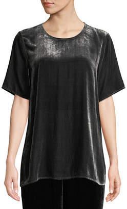 Eileen Fisher Short-Sleeve Velvet Box Top, Plus Size