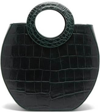 STAUD Frida Crocodile Embossed Leather Tote Bag - Womens - Dark Green