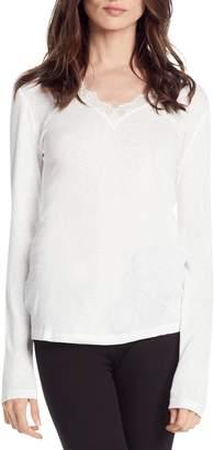 Michael Stars Lace Detail Cotton Blend Slub Tee