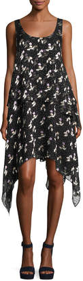 Opening Ceremony Gestures Floral Burnout Handkerchief Dress, Black