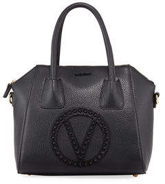 Mario Valentino Valentino By Minimi Rock Dollaro Leather Satchel Bag with Tonal Studs