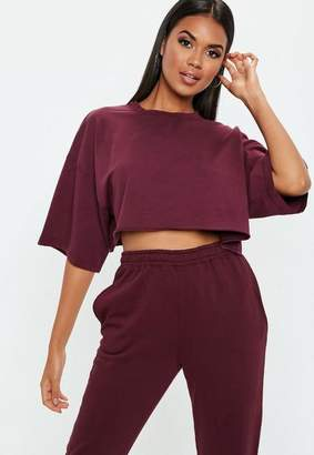 Missguided Burgundy Cropped Jersey T-Shirt