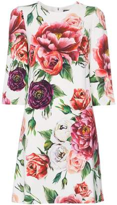 Dolce & Gabbana silk rose print dress
