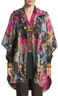 Etro Hooded Zip-Front Dolman-Sleeve Paisley-Print Nylon Poncho Jacket