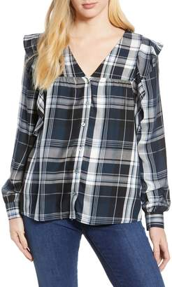 Bobeau Ruffled Plaid Shirt (Regular & Petite)
