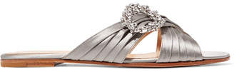 Gianvito Rossi Crystal-embellished Satin Slides - Silver