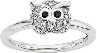 FINE JEWELRY Personally Stackable Genuine Onyx Sterling Silver Stackable Owl Ring