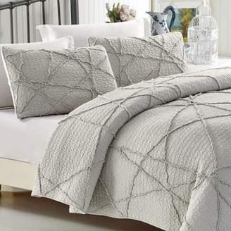 California Design Den Crazy Ruffled Quilt Set Light Grey Full/Queen