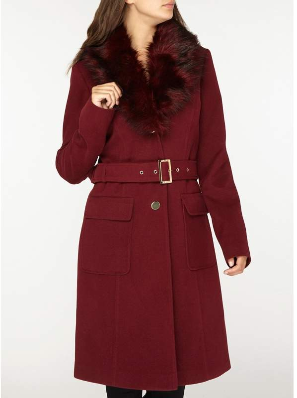 Tall Berry Faux Fur Belted Coat