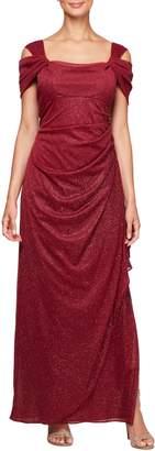 Alex Evenings Cold Shoulder Chiffon Gown