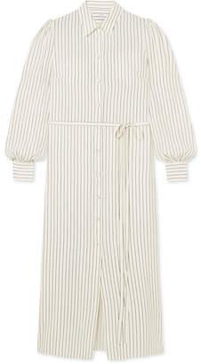 Co Striped Silk Shirt Dress
