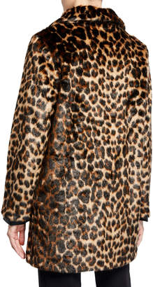 T Tahari Leopard Faux-Fur Topper Coat