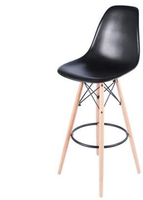 Joseph Allen Eames Style Bar Stool with Tall Wooden Base