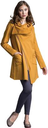 Neon Buddha Women's Light Long Cardigan Female Cowl Neck Cotton Jacket with Asymmetric Zip