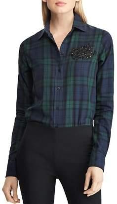 Ralph Lauren Embellished Lace Patch Plaid Shirt