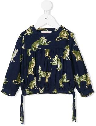 Simple cat print blouse