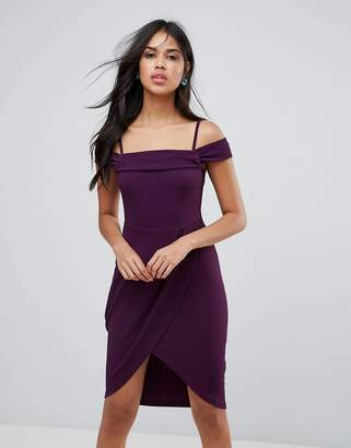 AX Paris Bardot Wrap Front Midi Dress