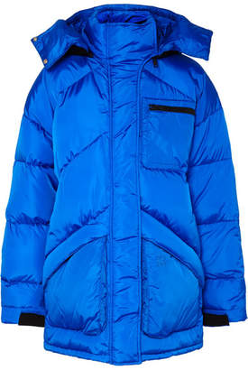 Givenchy Hooded Felt-trimmed Quilted Shell Jacket - Blue