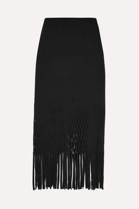 Dion Lee Fringed Cutout Jersey Midi Skirt - Black
