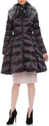 Elisabetta Franchi (エリザベッタ フランキ) - ELISABETTA FRANCHI エコファー襟付 中綿入 ダブルジップ コート ブラック 40
