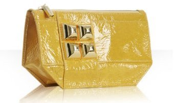 Shih by Stephanie Lin yellow patent 'Diego Toto' makeup bag