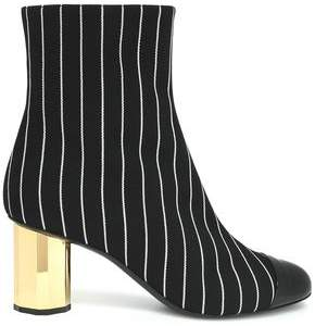 Marco De Vincenzo Patent Leather-Paneled Striped Canvas Ankle Boots