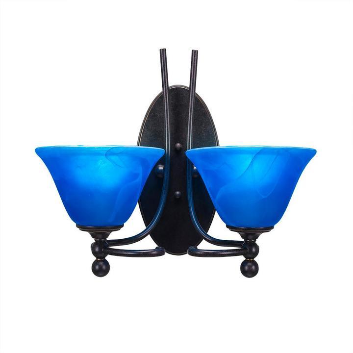 Cambridge SilversmithsCambridge 2-Light Dark Granite Sconce with Blue Marbleized Glass