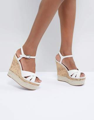 New Look Leather Look Cork And Espadrille Wedge