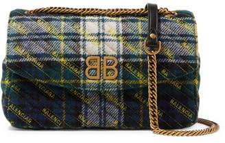 Balenciaga Bb Round Medium Embroidered Tartan Wool Shoulder Bag - Blue