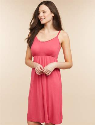 Motherhood Maternity Clip Down Lace Trim Nursing Nightgown