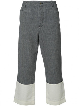 Loewe contrast hem cropped trousers $750 thestylecure.com