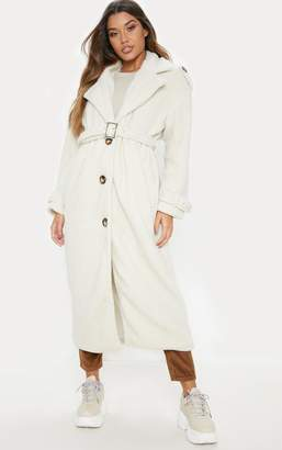 PrettyLittleThing Brown Borg Oversized Belted Coat