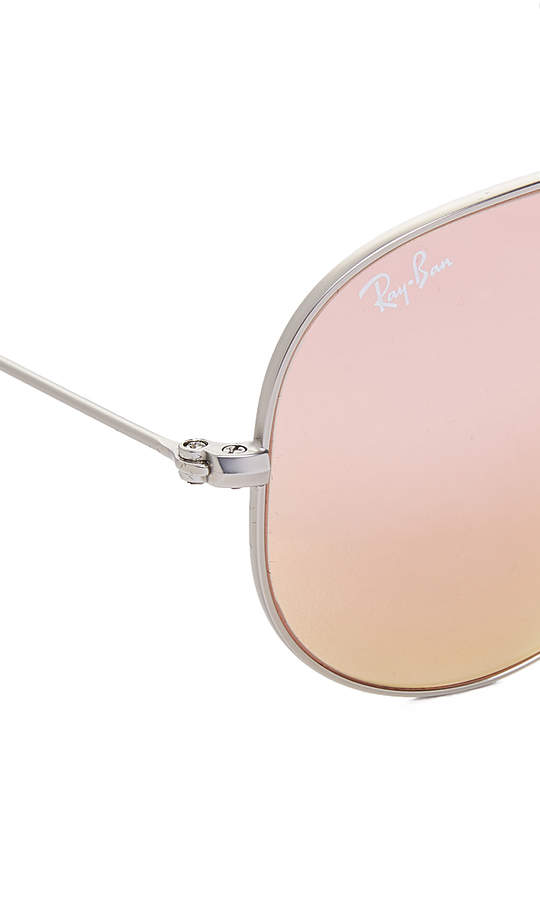 Ray-Ban Flash Lens Matte Aviator Sunglasses