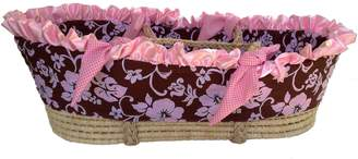 Patricia Ann Designs Satin Hibiscus Moses Basket with Check Trim