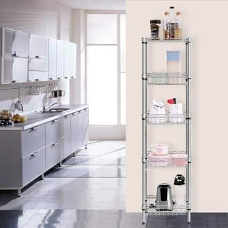 Laundry by Shelli Segal LANGRIA 5-Tier Silver Storage Bathroom Shelving Baskets Corner Shelf Utility Rack for Home Kitchen Bedroom Office