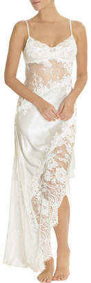 Jonquil Carina Lace-Inset Satin Nightgown