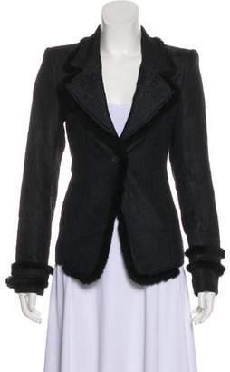 Saint Laurent Fur-Trimmed Jacquard Jacket