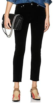 RE/DONE Women's Velvet High-Rise Ankle Crop Pants - Black