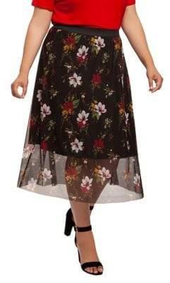 Dex Plus Floral Mesh Midi Skirt