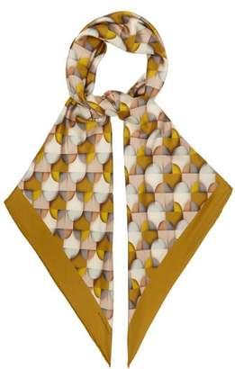 Bottega Veneta - Geometric Print Silk Twill Scarf - Womens - Green