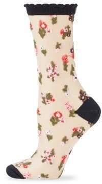 Kate Spade Sheer In Bloom Crew Socks