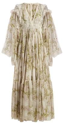 Giambattista Valli Floral Print Lace Trimmed Silk Crepe De Chine Gown - Womens - White Multi