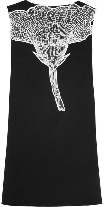 Christopher Kane Embroidered wool-crepe dress