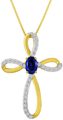 JCPenney FINE JEWELRY Lab-Created Blue and White Sapphire Cross Pendant Necklace
